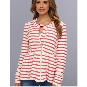 Free People Red & Cream Striped Jacket